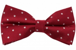 Red Pre-Tied Silk Bow Tie With White Dots